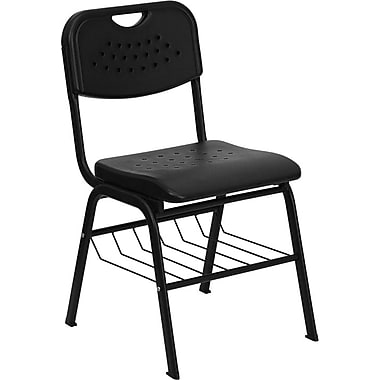 Flash Furniture HERCULES Series 880 lb. Capacity Plastic Chair with Black Powder Coated Frame and Book Basket, Black