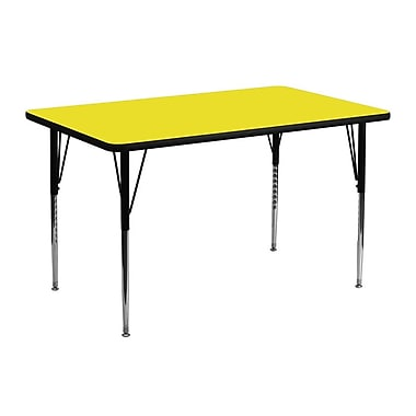 Flash Furniture 24''W x 48''L Rectangle Activity Table with 1.25'' High Pressure Top and Standard Height Adjustable Legs, Yellow