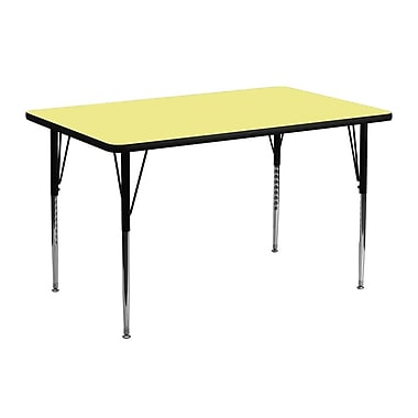 Flash Furniture 24''W x 48''L Rectangle Activity Table with Thermal Fused Top and Standard Height Adjustable Legs, Yellow