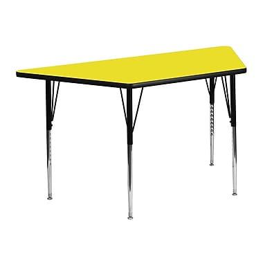 Flash Furniture – Table d'activités, trapèze, 24 x 48 po, stratifié haute pression 1,25 po, pattes standards réglables, jaune