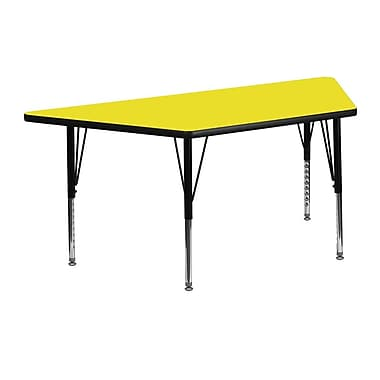 Flash Furniture 24''W x 48''L Trapezoid Activity Table with 1.25'' High Pressure Top and Adjustable Pre-School Legs, Yellow