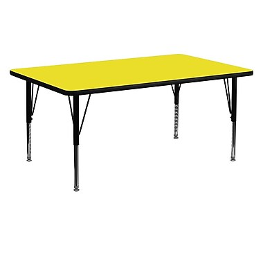 Flash Furniture 24''W x 60''L Rectangle Activity Table with 1.25'' High Pressure Top and Adjustable Pre-School Legs, Yellow