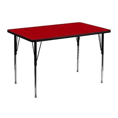 Flash Furniture 30''W x 48''L Rectangle Activity Table with Thermal Fused Top and Standard Height Adjustable Legs, Red