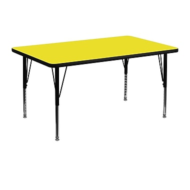 Flash Furniture 30''W x 48''L Rectangle Activity Table with 1.25'' High Pressure Top and Adjustable Pre-School Legs, Yellow