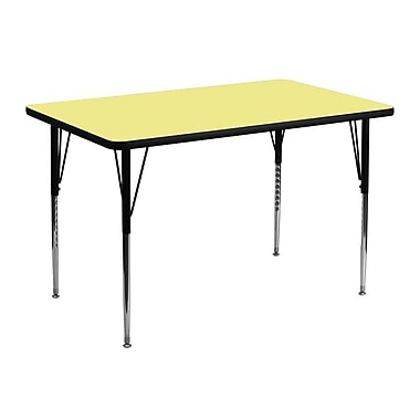 Flash Furniture 30''W x 48''L Rectangle Activity Table with Thermal Fused Top and Standard Height Adjustable Legs, Yellow