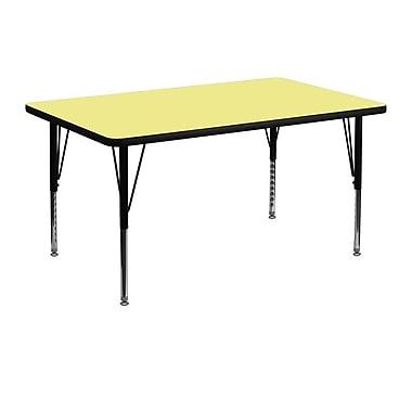 Flash Furniture – Table d'activités rectangulaire de 30 x 48 po, surface thermofusionnée, pattes préscolaires réglables, jaune