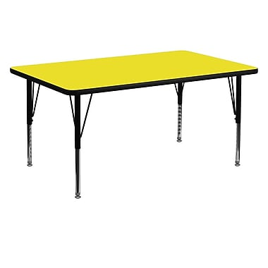 Flash Furniture 30''W x 60''L Rectangle Activity Table with 1.25'' High Pressure Top and Adjustable Pre-School Legs, Yellow