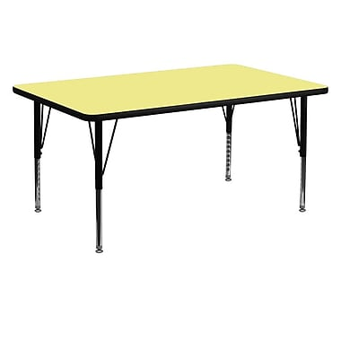 Flash Furniture 30''W x 60''L Rectangle Activity Table with Thermal Fused Top and Height Adjustable Pre-School Legs, Yellow