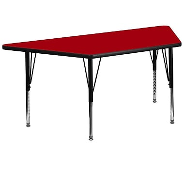 Flash Furniture 30''W x 60''L Trapezoid Activity Table with Thermal Fused Top and Height Adjustable Pre-School Legs, Red