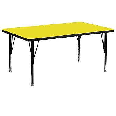 Flash Furniture 30''W x 72''L Rectangle Activity Table with 1.25'' High Pressure Top and Adjustable Pre-School Legs, Yellow