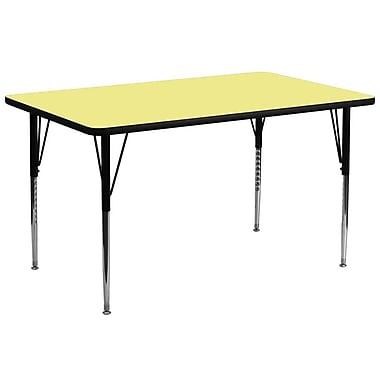 Flash Furniture – Table d'activités rectangulaire de 30 x 72 po, surface thermofusionnée, pattes standards réglables, jaune