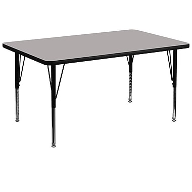 Flash Furniture 36''W x 72''L Rectangle Activity Table with 1.25'' High Pressure Top and Height Adjustable Pre-School Legs, Grey