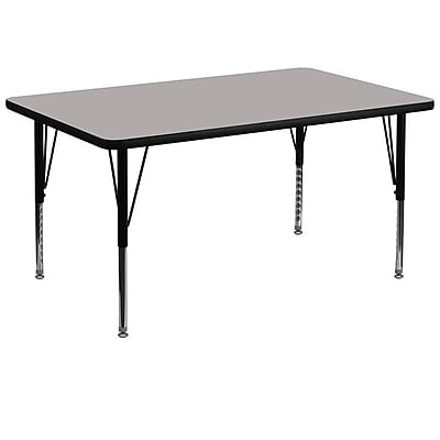 Flash Furniture 36''Wx72''L Rectangle Activity Table w/ 1.25'' HighPress Top & Height Adj Legs, Grey (XUA3672RECGYHP)