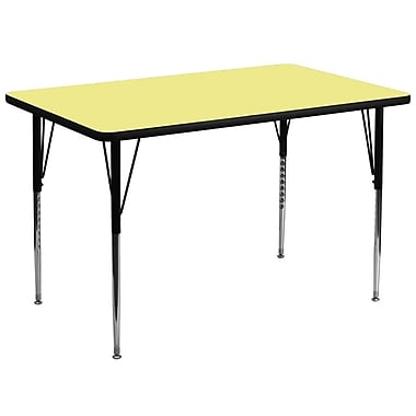 Flash Furniture – Table d'activités rectangulaire de 36 x 72 po, surface thermofusionnée, pattes standards réglables, jaune