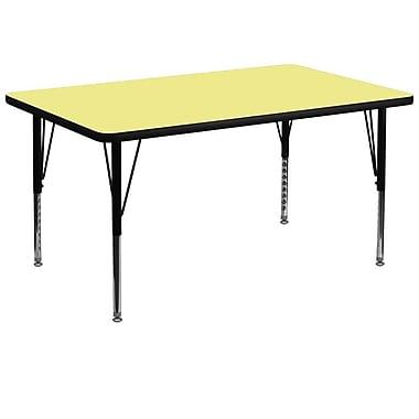 Flash Furniture – Table d'activités rectangulaire de 36 x 72 po, surface thermofusionnée, pattes préscolaires réglables, jaune