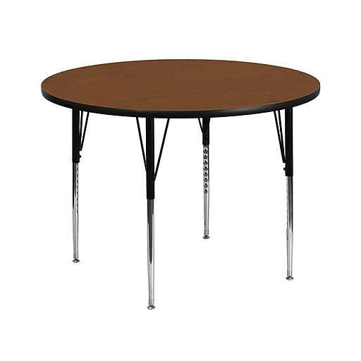 Flash Furniture 42'' Round Activity Table with 1.25'' Thick High Pressure Laminate Top and Standard Height Adjustable Legs, Oak