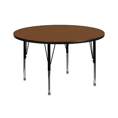 Flash Furniture 42'' Round Activity Table with 1.25'' High Pressure Top & Height Adj Legs, Oak (XUA42RNDOAKHP)