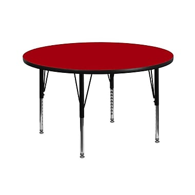 Flash Furniture 42'' Round Activity Table with Thermal Fused Laminate Top and Height Adjustable Pre-School Legs, Red