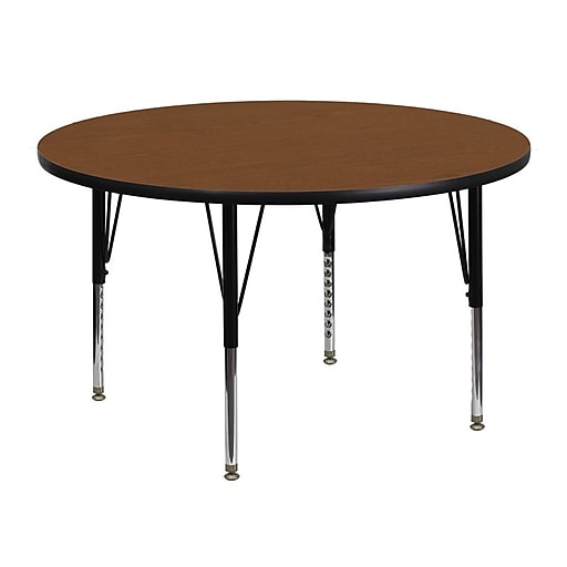 Flash Furniture 48'' Round Activity Table with 1.25'' High Pressure Top and Height Adjustable Pre-School Legs, Oak