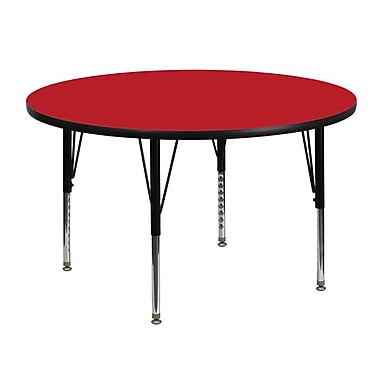 Flash Furniture – Table d'activités ronde, 48 po, dessus stratifié haute pression 1,25 po, pattes préscolaires réglables, rouge