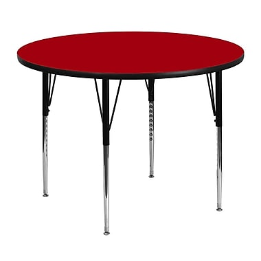 Flash Furniture 48'' Round Activity Table with Thermal Fused Laminate Top and Standard Height Adjustable Legs, Red