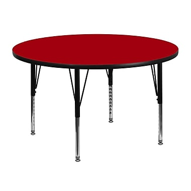 Flash Furniture 48'' Round Activity Table with Thermal Fused Laminate Top and Height Adjustable Pre-School Legs, Red