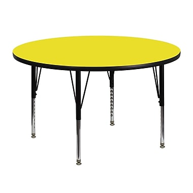 Flash Furniture 48'' Round Activity Table with 1.25'' High Pressure Top and Height Adjustable Pre-School Legs, Yellow