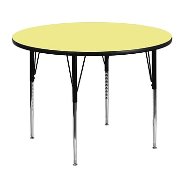 Flash Furniture 48'' Round Activity Table with Thermal Fused Laminate Top and Standard Height Adjustable Legs, Yellow