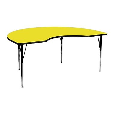 Flash Furniture 48''W x 72''L Kidney Shaped Activity Table with 1.25'' High Pressure Top and Standard Adjustable Legs, Yellow
