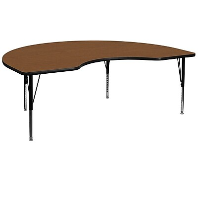 Flash Furniture 48''W x 96''L Kidney Shaped Activity Table with 1.25'' High Pressure Top and Adjustable Pre-School Legs, Oak