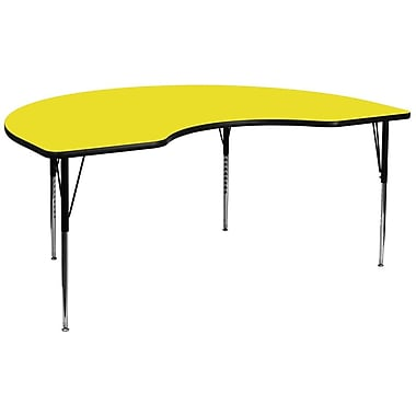Flash Furniture 48''W x 96''L Kidney Shaped Activity Table with 1.25'' High Pressure Top and Standard Adjustable Legs, Yellow