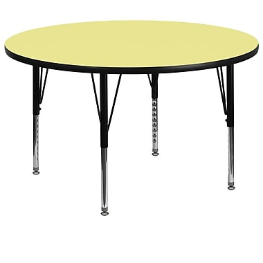 Flash Furniture 60'' Round Activity Table with Thermal Fused Laminate Top and Height Adjustable Pre-School Legs, Yellow