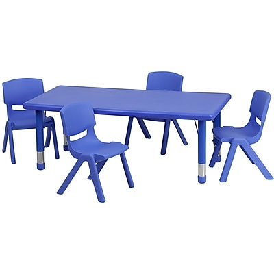 Flash Furniture 24''W x 48''L Adjustable Rectangular Plastic Activity Table Set with 4 School Stack Chairs, Blue