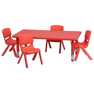 Flash Furniture 24''W x 48''L Adjustable Rectangular Plastic Activity Table Set with 4 School Stack Chairs, Red