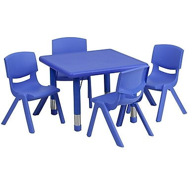 Flash Furniture 24'' Square Adjustable Plastic Activity Table Set with 4 School Stack Chairs, Blue