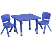 Flash Furniture 24'' Square Adjustable Plastic Activity Table Set with 2 School Stack Chairs