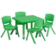 Flash Furniture 24'' Square Adjustable Plastic Activity Table Set with 4 School Stack Chairs, Green
