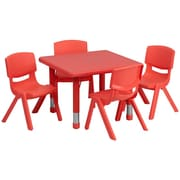 Flash Furniture 24'' Square Adjustable Plastic Activity Table Set with 4 School Stack Chairs, Red