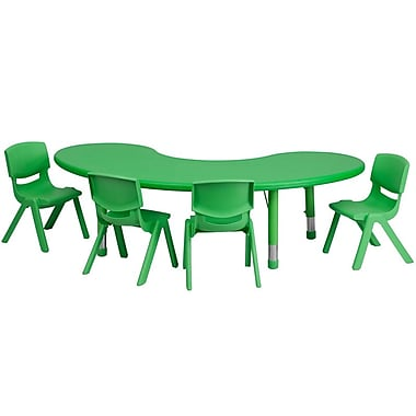 Flash Furniture 35''W x 65''L Adjustable Half-Moon Plastic Activity Table Set with 4 School Stack Chairs, Green