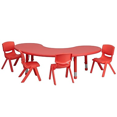 Flash Furniture 35''W x 65''L Adjustable Half-Moon Plastic Activity Table Set with 4 School Stack Chairs, Red