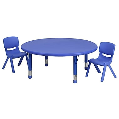 Flash Furniture 45'' Round Adjustable Plastic Activity Table Set with 2 School Stack Chairs, Blue