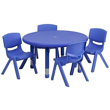 Flash Furniture 33'' Round Adjustable Plastic Activity Table Set with 4 School Stack Chairs, Blue