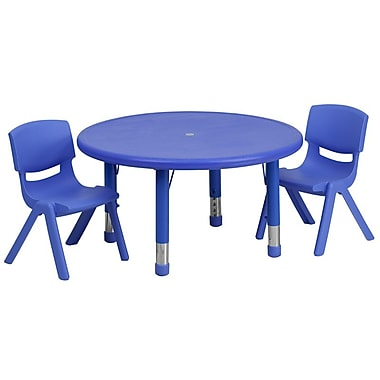 Flash Furniture 33'' Round Adjustable Plastic Activity Table Set with 2 School Stack Chairs