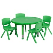 Flash Furniture 33'' Round Adjustable Plastic Activity Table Set with 4 School Stack Chairs, Green