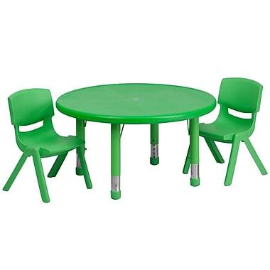 Flash Furniture – Ensemble avec table d'activités ronde réglable de 33 po et 2 chaises d'école empilables, vert