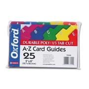 Oxford Card Guides, Alpha, 1/5 Tab, Polypropylene, 5 x 8, 25/Set