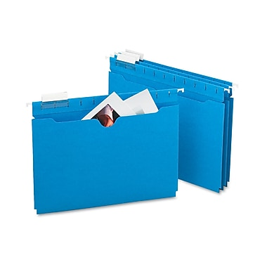 Smead® Hanging File Jacket with Tab, No Expansion, 1/5-Cut Adjustable Tab, Letter Size, Sky Blue, 25 per Box (64200)