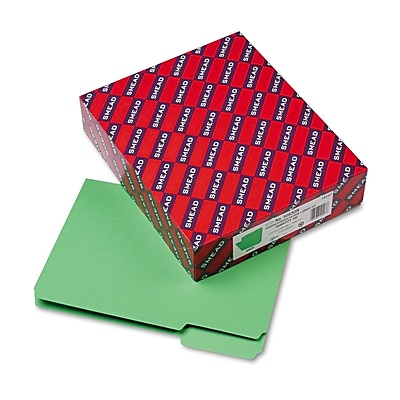 Smead Interior 3-Tab Colored File Folders, Letter, Green, 100/Bx (10247)