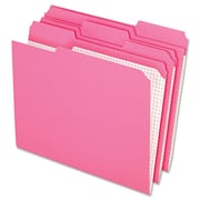 Pendaflex® Letter 1/3 Cut Recycled File Folder, Pink, 100/Pack