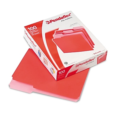 Pendaflex® Letter Recycled 1/3 Cut Two-Tone File Folder, Red, 100/Pack